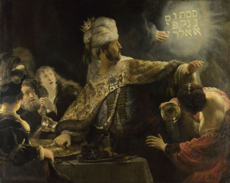 World Scripture for Daily Living.corpvs Rembrandt óleo sobre lienzo - Belshazzar's Feast Scroll of Daniel Chapter 5 In Captivity by Chaldea